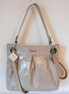 Coach Handbag Putty Taupe Ashley Patent Leather Hippie Hobo Cross Body