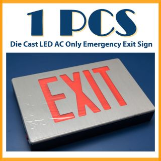 AC Only Die Cast LED Exit Sign Red Color for Public Safety Restaurant