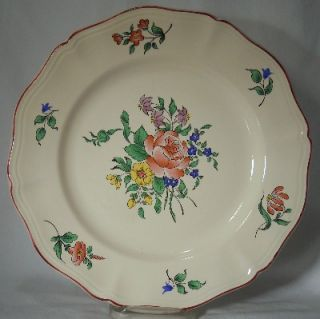 Luneville France China Old Strasbourg Rose Pattern Dinner Plate 10 1 8