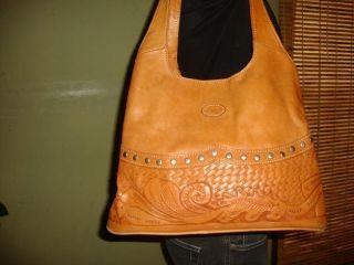 British Tan Tooled Leather Shoulder Bag Purse Tote Western