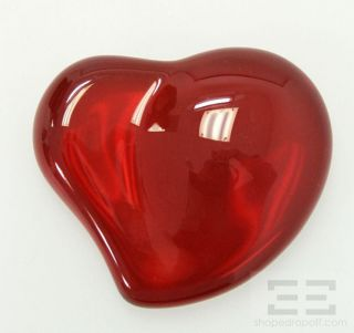 Tiffany Co Elsa Peretti Red Crystal Heart Paperweight