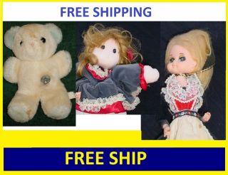 FREE SHIP Lot3 Vntg Musical Dolls Dance Turn Repair Teddy Bear Music