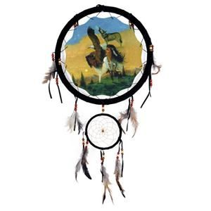 13 Indian Girl Eagle Wolf Buffalo Dream Catcher w Feathers Beads Home