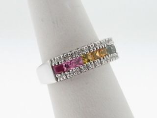 Effy Pre Owned Multi Colored Sapphires Diamonds 14k White Gold Ring