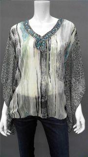 Faith Edie Coverup Ladies Womens XS Blouse Top Blue Floral Kimono