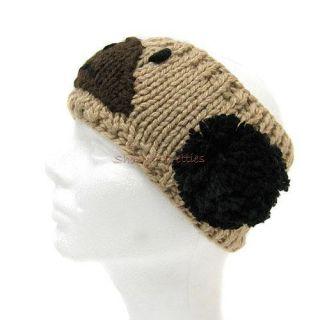 Knit Koala Adult Animal Ear Warmer Headband Head Wrap Brown Black Pom