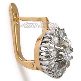 82 Ct Diamond Earrings Russian Jewelry 14k Rose Gold Earrings