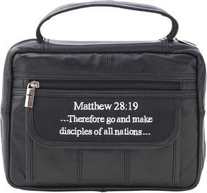 Solid Black Genuine Leather Bible Cover, Unisex Zippered Large Book