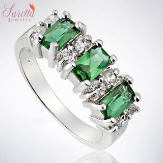 GIFT EMERALD CUT GREEN EMERALD GOLD PLATED FASHION JEWELRY LADY RING 8