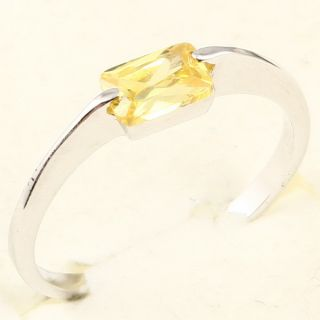4x6mm Emerald Cut Yellow Sapphire 78 Ring