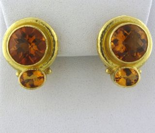 Elizabeth Locke 18K Yellow Gold Citrine Earrings
