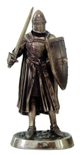 MEDIEVAL KNIGHT ARMORED w SWORD SHIELD FIGURINE STATUE CHIVALRY FIGURE