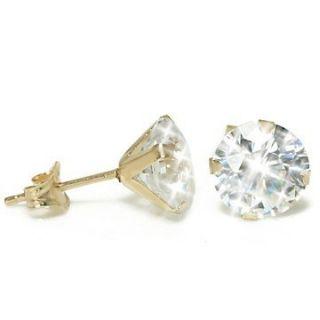 Carat White Diamond Alternative Martini Stud Earrings 14k Yellow Gold