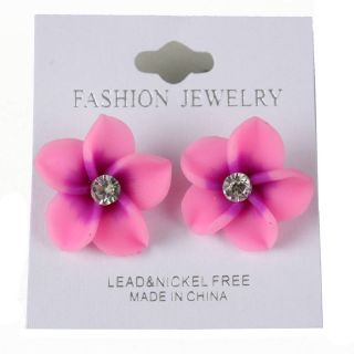 Purple Clay Hawaiian Hibiscus Flower Stud Rhinestone Earring