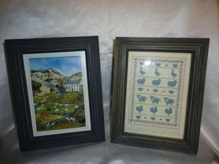 Village & Cow Scene Print By Will Moses Eagle Bridge & Another Print