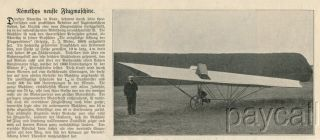 1904 Vintage Print Article Emil Von Nemethy Arad New Aircraft