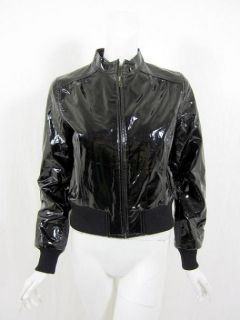 Emilie D Womens Black Patent Leather Jacket M $340 New