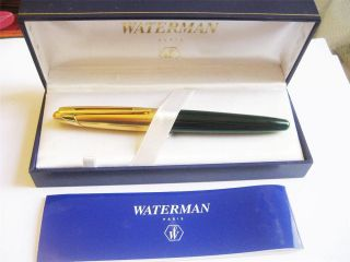 Edson Waterman Green Emerald Body Fountain Pen Box Papers