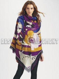 EMILIO PUCCI violet PAPAVERI 100% wool 50 scarf PASHMINA shawl NWT