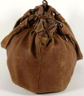 Elliott Lucca Tan PEBBLED Leather Pleated Hobo Shoulder Bag Purse