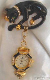 Black Enamel Panther Cat Matching Watch Brooch Pin 118
