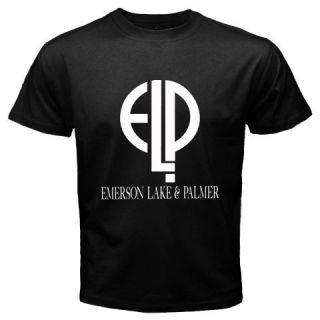 New ELP Emerson Lake Palmer Band Logo Music Album Mens Black T Shirt