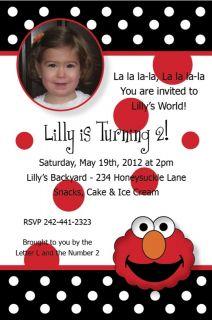Personalized Elmos Face & Polka Dots PHOTO Birthday Party Invitations