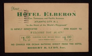 1940 Hotel Elberon Rates Ludy $1 Room Atlantic City NJ