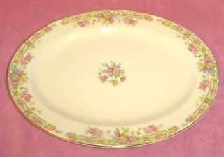 Edwin M Knowles China Semi Vitreous Multi Floral Bouquet Oval Platter