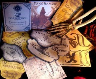 12 Halloween Potion Bottle Labels Party Prop set 3 Witchs Cupboard Eek