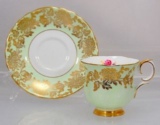 Crown Staffordshire Mint Green Rose Gold Cup Saucer Set