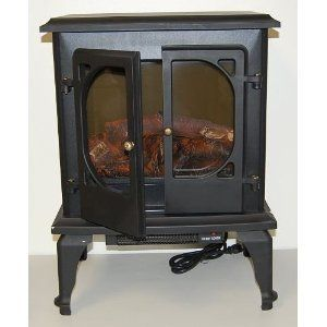 Portable Electric Fireplace Compact Heater Vintage Antique Stove Look