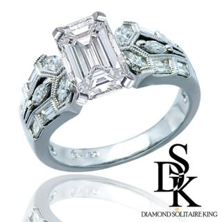 Diamond Engagement Ring 1 90 Ct Total Emerald Cut 14k Gold Heavy