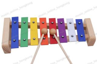 Wood frame Glockenspiel Xylophone 8 Notes musical instrument toy