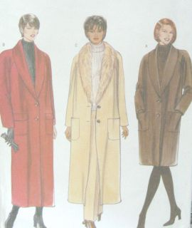 Lined Straight Coat Sewing Pattern Detachable Collar 5764 Easy