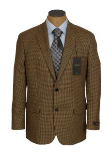 NEW Mens Tasso Elba Brown Houndstooth Wool Sport Coat Jacket