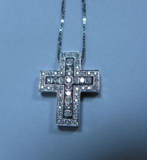 New Damiani Belle Epoque 18K White Gold Diamond Cross