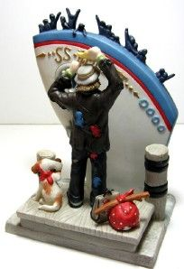 Emmett Kelly Jr Bon Voyage Boat Clown Figurine Signed RARE Collectible