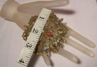 Vtg Brooch Emmons Aurora Borealis Rhinestone Costume Jewelry Huge Pin
