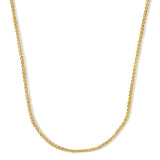 Jewelry Necklaces Chain 14K Gold Round Wheat Link Necklace