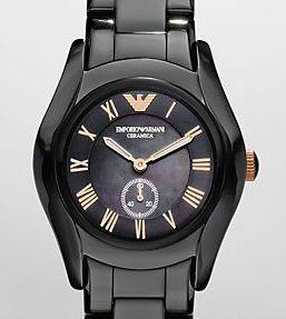 Emporio Armani Womens Black Ceramic Watch AR1412