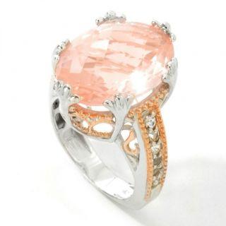Gems En Vogue 2 SS Palladium 18K Rose Vermeil Rose Quartz Ring Size 7