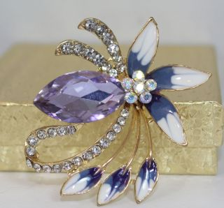 Enamel Flower Purple Aurora B Rhinestone Brooch Pin Fashion Costume