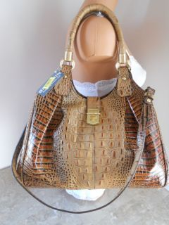 BRAHMIN ELISA TOASTED ALMOND CROCO EMBOSSED LEATHER SHOULDER BAG NWT $