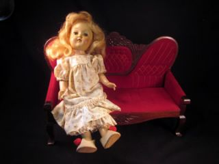 Fab Vintage 1930s Red Velvet Doll Couch Victorian Style