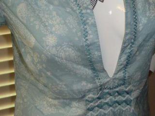 Eddie Bauer Sheer Light Blue Paisley SS Tunic Top Shirt Blouse Womens