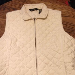 EDDIE BAUER XL QUILTED GOOSE DOWN OFF WHITE LIGHT WEIGHT VEST