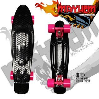 Mayhem Complete Cruiser Skateboard Black Hot Pink Wheels