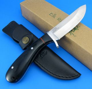Elk Ridge Fixed Blade Black Wood Full Tang Handle Hunting Knife w