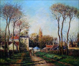 Hand Painted Oil Painting Rep Pissarro Entrance to Village